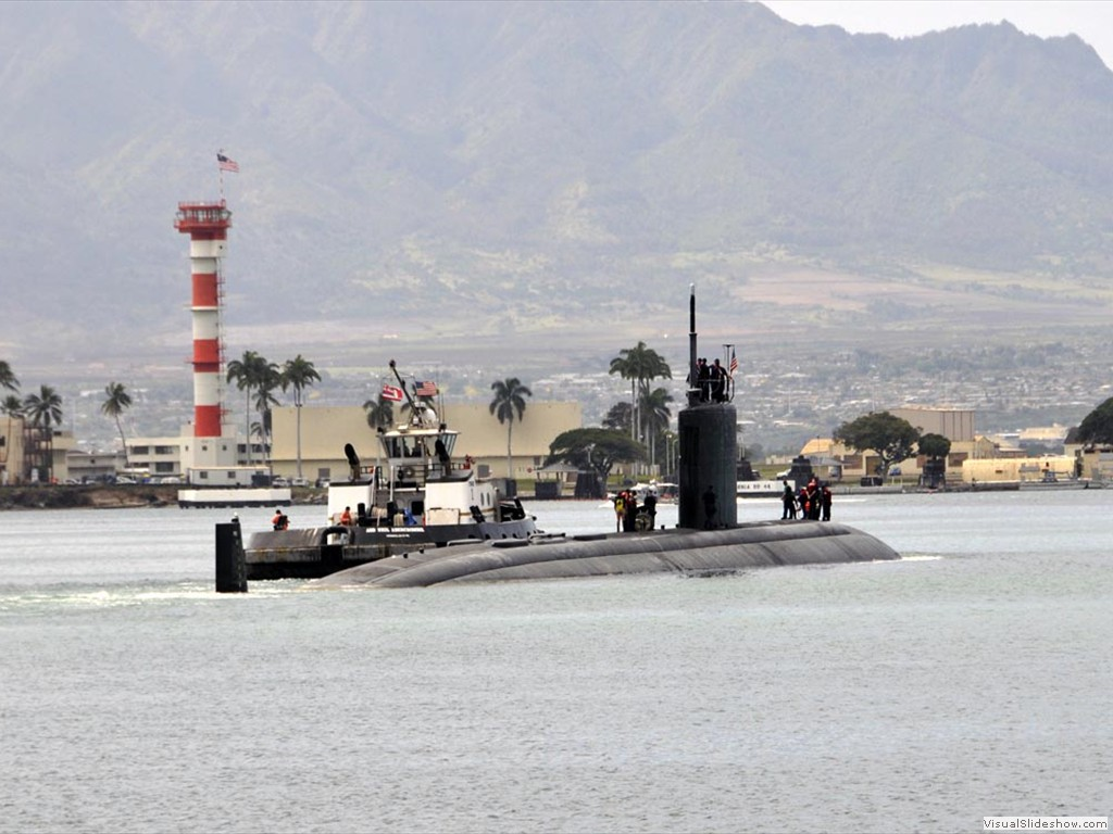 USS Charlotte (SSN-766) departs Pearl Harbor.