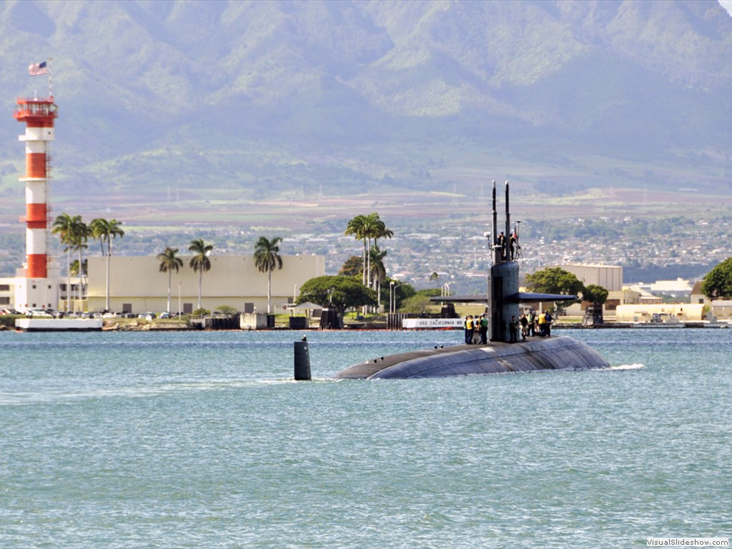 USS City of Corpus Christi (SSN-705) departs from Pearl Harbor.