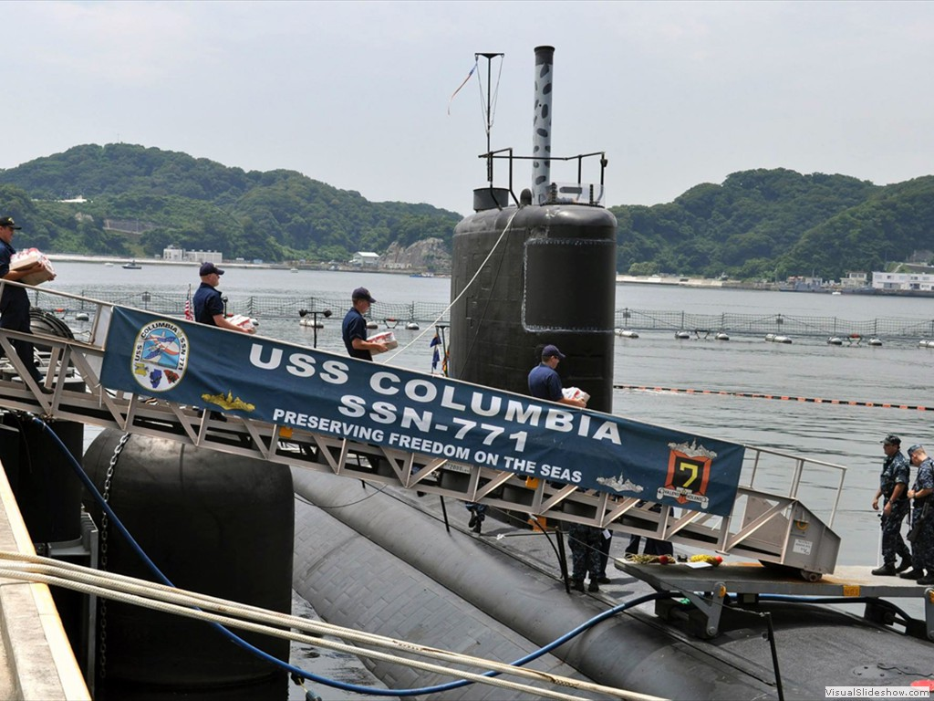 USS Columbia (SSN-771) conducts a stores load in Japan during 2011.