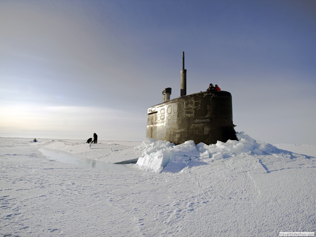 USS Connecticut (SSN-22) surfaces above the ice in the Arctic Ocean during ICEX 2011.